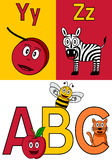 Kindergarten Alphabet Y-Z. Kindergarten alphabet, letters Y and Z with an ABC logo isolated on white background. Two cute cartoon drawings representing a yo-yo stock illustration