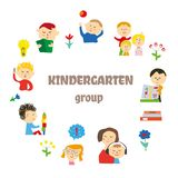 Kindergarten background for card or invitation with kids playing, learning and toys. Vector illustration. Kindergarten background for card or invitation with royalty free illustration