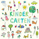 Kindergarten banner with funny kids drawing Stock Image