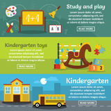 Kindergarten banner horizontal set, flat style. Kindergarten banner horizontal concept set. Flat illustration of 3 kindergarten vector banner horizontal concepts Royalty Free Stock Photography