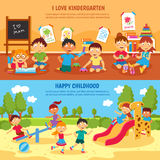 Kindergarten banner set Royalty Free Stock Photo