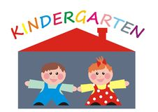 Kindergarten, boy and girl at house Royalty Free Stock Image