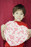 Kindergarten Boy Holding Heart Stock Image