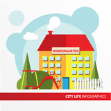 Kindergarten building icon in the flat style. Preschool. Concept for city infographic. Royalty Free Stock Image