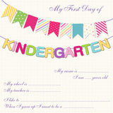 Kindergarten bunting. Cute First Day of Kindergarten interview card with bright festive buntings Royalty Free Stock Photos