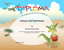 Kindergarten certificate template for preschool graduation Stock Images