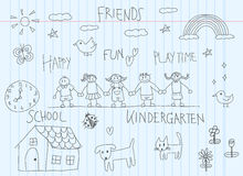 Kindergarten children doodle drawing sketch of a friend and kid Stock Images