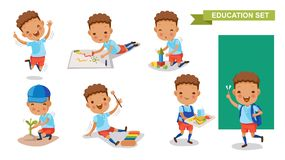 Kindergarten children. Of Education set. Jumping, drawing, playing, planting trees, playing xylophone, holding food tray, backpacking. Student activity concept royalty free illustration