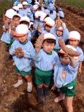 Kindergarten children field work Stock Image