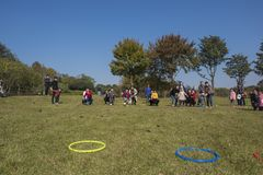 Kindergarten children and parents are taking part in a parent-child activity at longback mountain park in yixing, jiangsu province Royalty Free Stock Photography