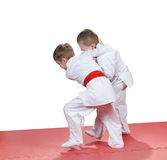 In kindergarten, the children are trained judo techniques. In kindergarten the boys are trained judo techniques Stock Images