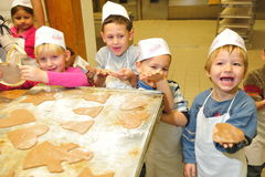 Kindergarten christmas cookies Stock Photography