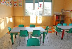 Kindergarten class with the chairs and children's decorations Royalty Free Stock Images
