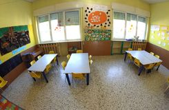 Kindergarten class with fisheye lens Stock Image