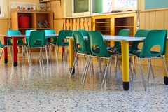 Kindergarten class with the green chairs Royalty Free Stock Photography