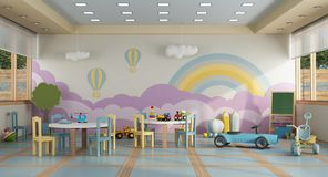 Kindergarten Class Without Childs - 3d Rendering Royalty Free Stock Photography
