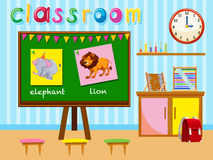 Kindergarten classroom with board and chairs Stock Images