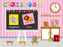 Kindergarten classroom with board and chairs Stock Photo