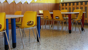 Kindergarten classroom with chairs and table Royalty Free Stock Photography