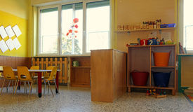 Kindergarten classroom with chairs and tables Royalty Free Stock Photography