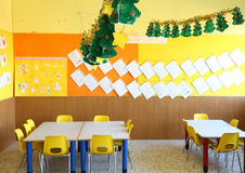 Kindergarten classroom with chairs and tables Stock Photos