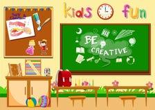 Kindergarten classroom without children Stock Photos