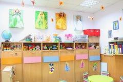 Kindergarten classroom. Kindergarten class room without kids Stock Photo