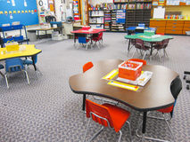 Kindergarten classroom. Interior kindergarten classroom with tables and chairs stock photography