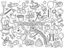 Kindergarten colorless set vector. Kindergarten design colorless set vector illustration. Coloring book. Black and white line art Royalty Free Stock Photo