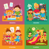 Kindergarten concept set Stock Images