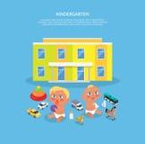 Kindergarten Design Flat Banner Stock Images