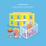 Kindergarten Design Flat Banner Stock Image