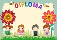 Kindergarten Diploma Certificate Template stock illustration