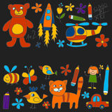 Kindergarten doodle pictures Color chalks Royalty Free Stock Images