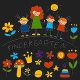 Kindergarten doodle pictures Color chalks Royalty Free Stock Photography