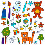Kindergarten doodle pictures on notepad paper Stock Images