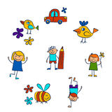 Kindergarten doodle pictures On white background Stock Photography
