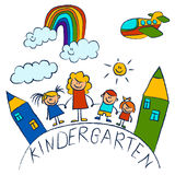 Kindergarten doodle pictures On white background Royalty Free Stock Image