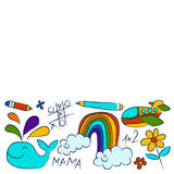 Kindergarten doodle pictures On white background Royalty Free Stock Photo