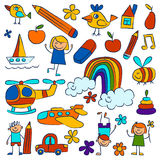 Kindergarten doodle pictures On white background Royalty Free Stock Photography