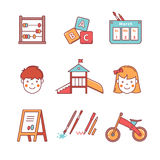 Kindergarten education equipment. Girl and boy. Kindergarten education icons thin line set. Girl, boy, abacus, abc blocks, calendar, playground slide and other Stock Photos