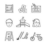 Kindergarten education icons thin line art set Royalty Free Stock Photos