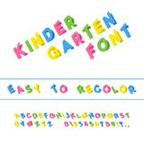 Kindergarten Font. Folded Paper Cut Sans Serif Typeface. Letters. Numbers, Punctuation Marks. Kids Latin Alphabet. Vector Royalty Free Stock Photos