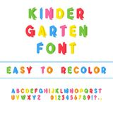 Kindergarten Font. Folded Paper Cut Sans Serif Typeface. Letters. Numbers, Punctuation Marks. Kids Latin Alphabet. Vector Royalty Free Stock Photography
