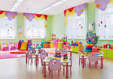 Kindergarten, game room. The pink room for games and learning in kindergarten royalty free stock photography