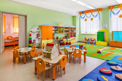 Kindergarten, game room. A room in a kindergarten, where children play and learn royalty free stock image