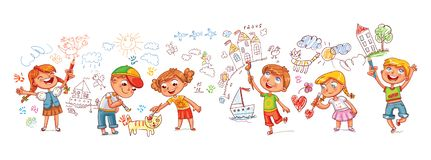kindergarten Garçons et filles dessinant des griffonnages d'images sur les murs illustration de vecteur