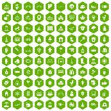 100 kindergarten icons hexagon green. 100 kindergarten icons set in green hexagon isolated vector illustration vector illustration