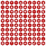 100 kindergarten icons hexagon red. 100 kindergarten icons set in red hexagon isolated vector illustration Stock Photography