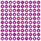 100 kindergarten icons hexagon violet. 100 kindergarten icons set in violet hexagon isolated vector illustration vector illustration